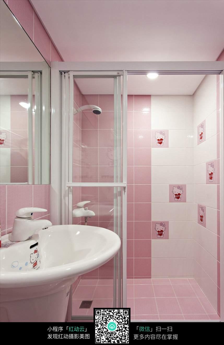 粉色梦幻浴室室内装修设计效果图