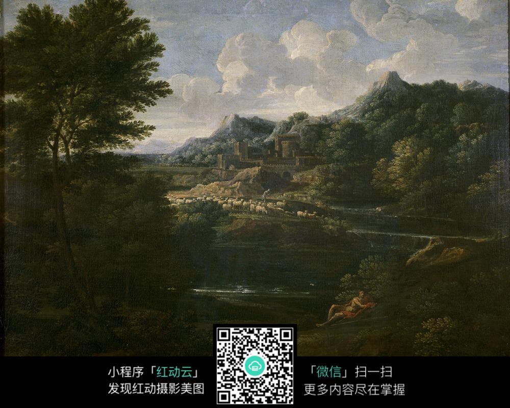 抽象湖泊高山树木油画作品