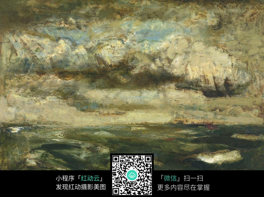 古典抽象风景油画图片