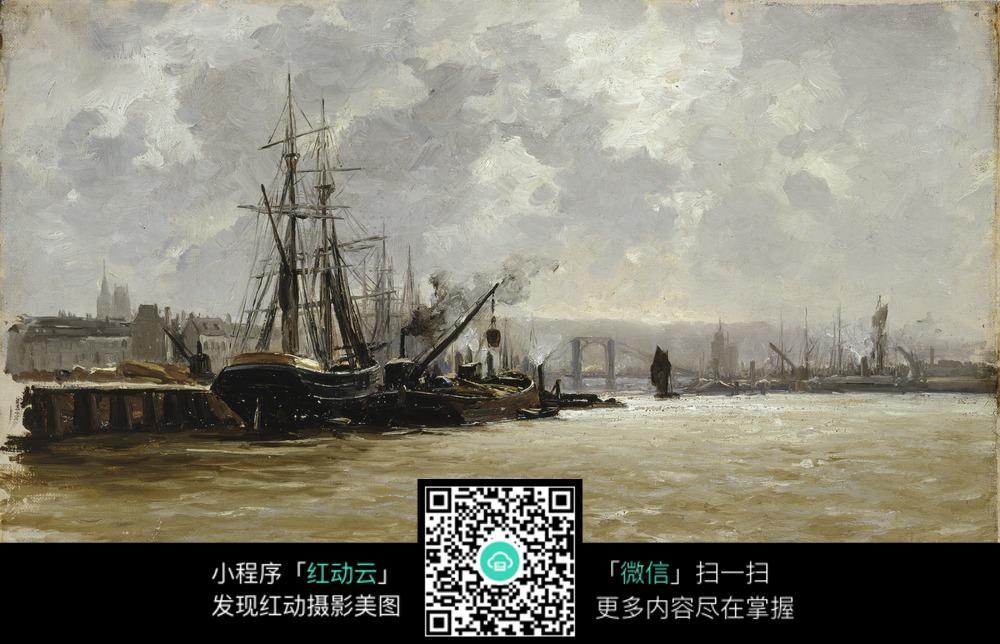 古典海边船只建筑油画作品图片