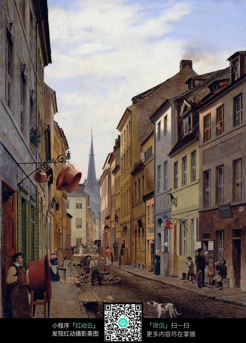 一点透视小镇街道手绘图