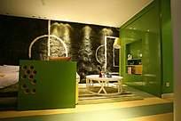 绿色墙面装饰图片