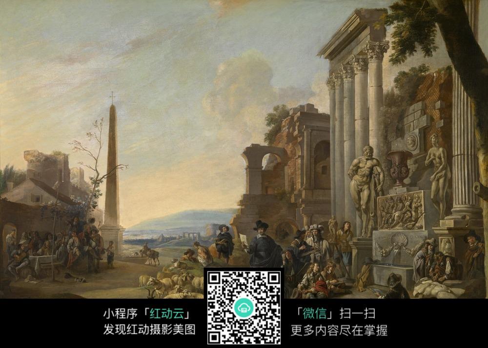 欧式古典建筑人物油画作品图片