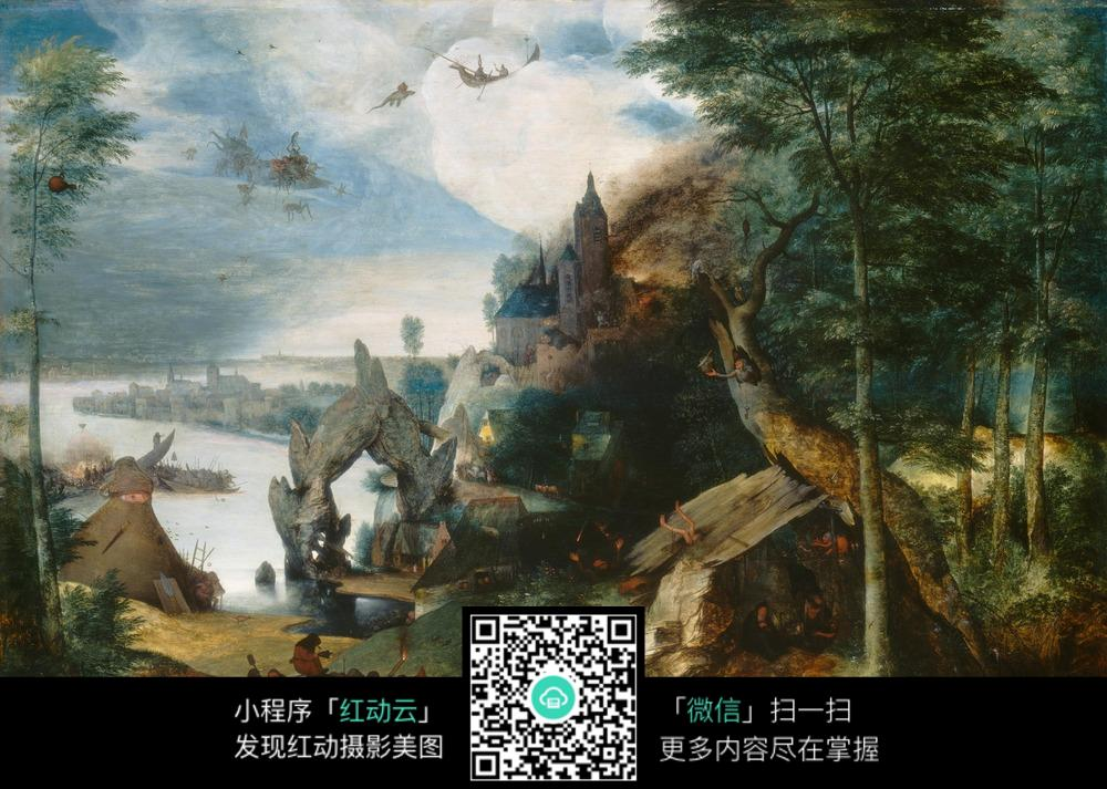 色彩鲜艳的古典风景油画图片