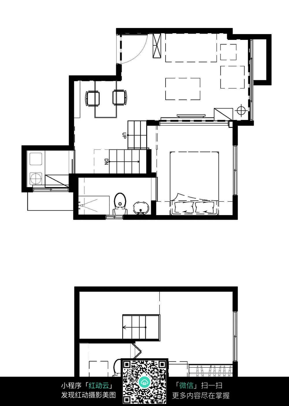 小户型复式楼装修平面图 室内设计图片图片