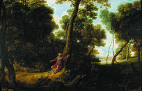 斜靠在大树上与人交流的红衣女子油画