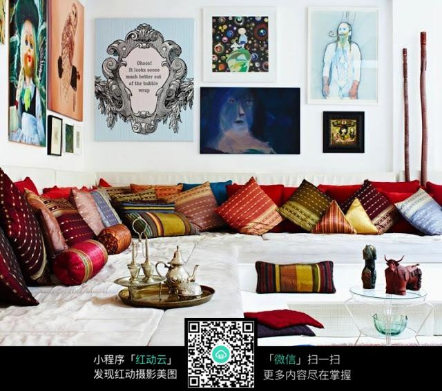 印度风格花纹抱枕