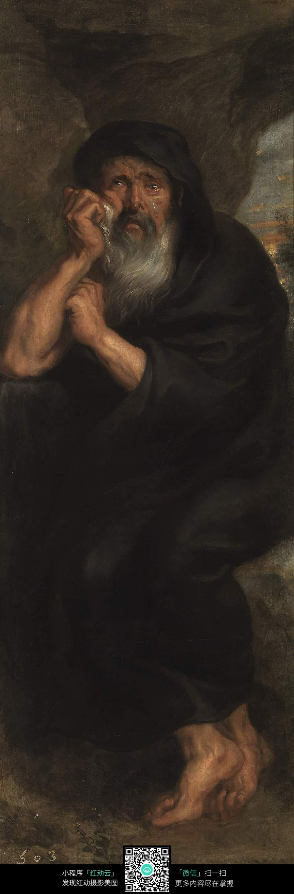 沧桑老人肖像油画作品