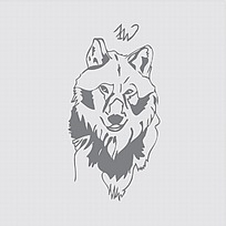 狼头图案标志设计图片