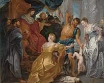 欧洲人物讨论场景油画作品