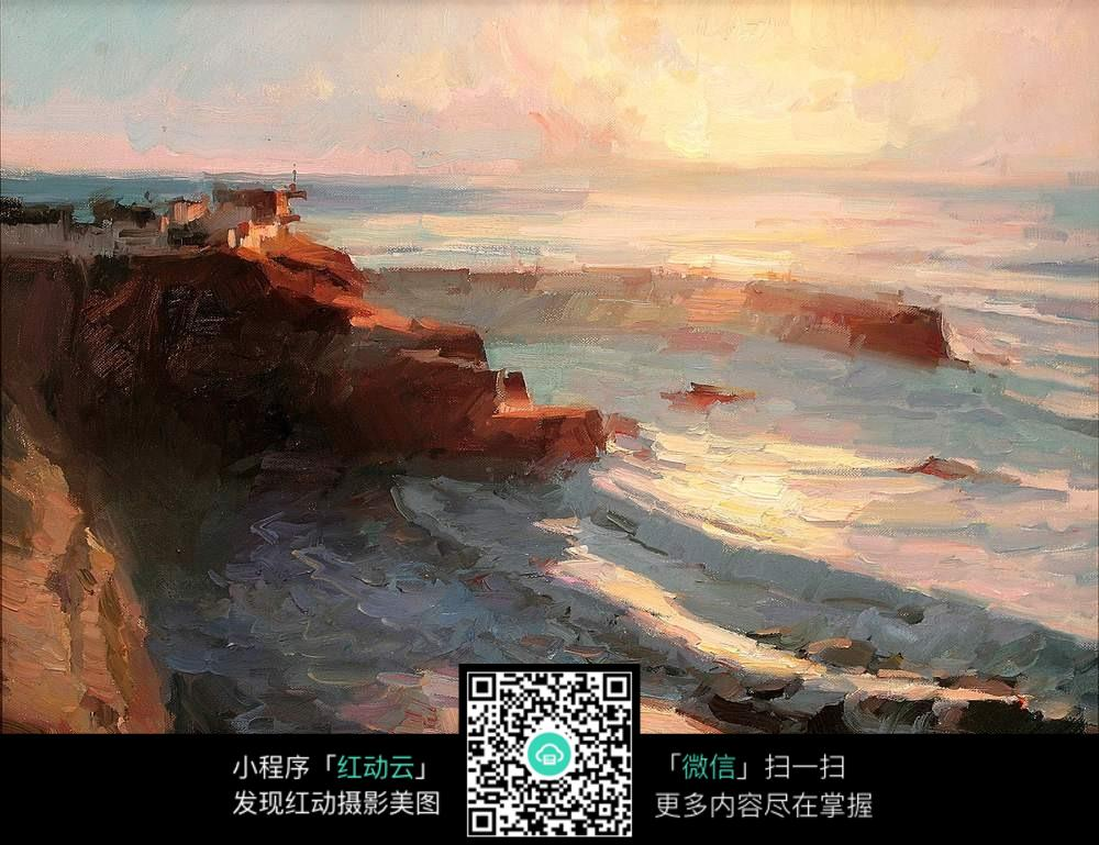 唯美夕阳海边风景室内装饰画