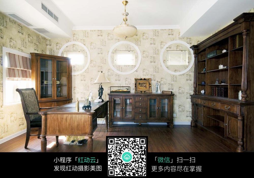 复古书房装潢设计效果图图片