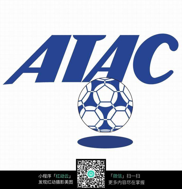蓝色足球队名称logo设计图片图片
