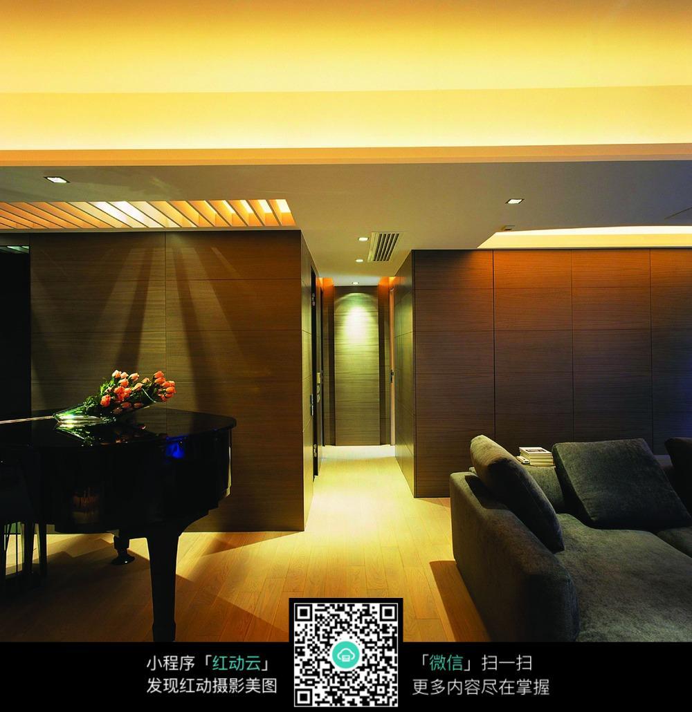 客厅钢琴装饰效果图图片免费下载 编号5414989 红动网