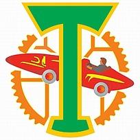 齿轮背景的图案球队logo设计