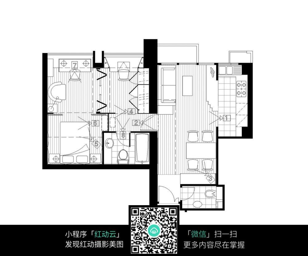 室内空间分布装修平面图