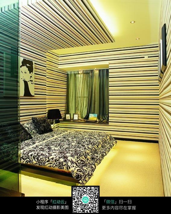 条纹墙面卧室整体装修效果图