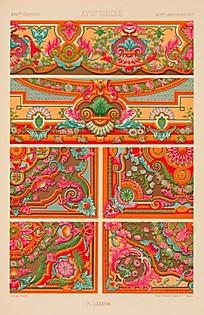 中式鲜艳色彩边框贴图