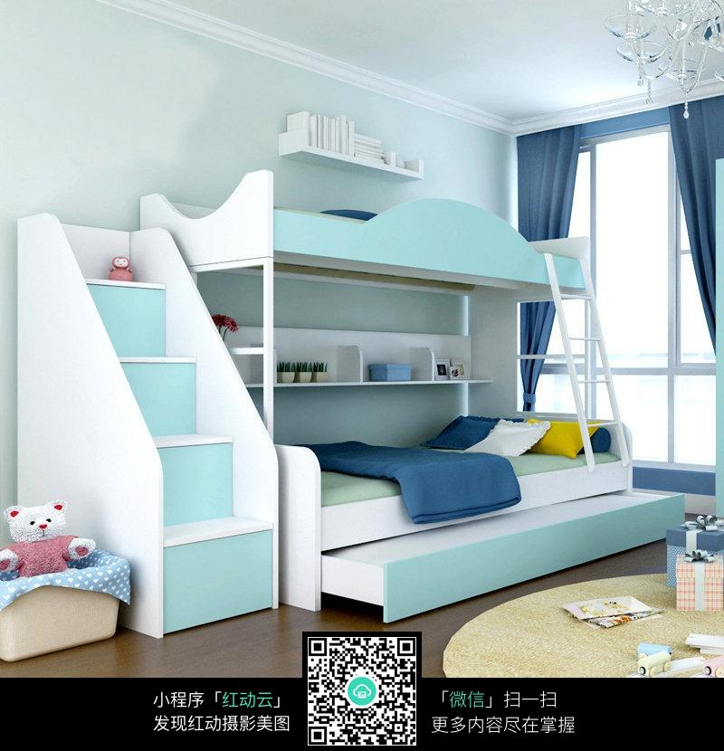 房间蓝色木板床_室内设计图片