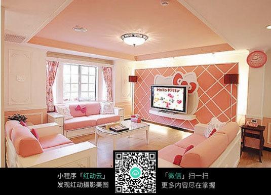 家装粉色壁纸效果图