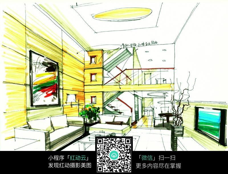 复式客厅手绘彩色效果图_室内设计图片