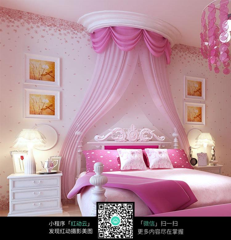 欧式公主风粉色系卧室装修图片