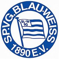 蓝色条纹旗帜图案球队logo设计