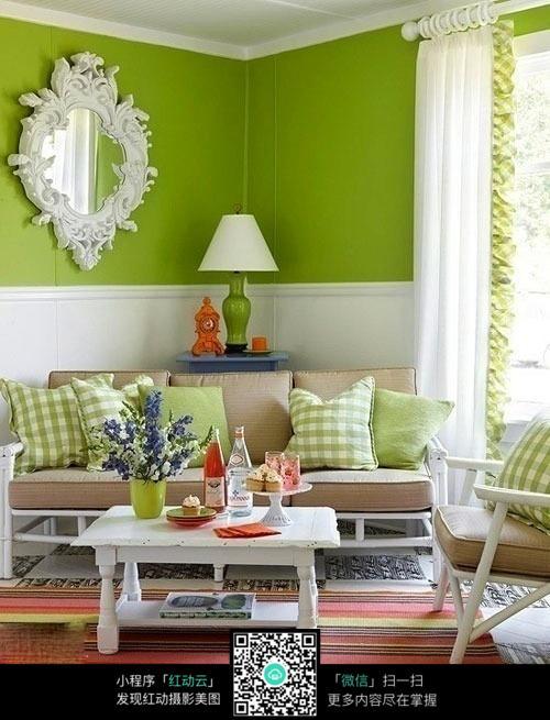 绿色田园风客厅_室内设计图片