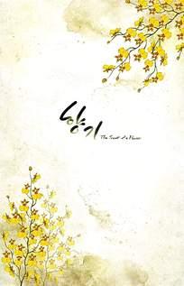淡黄色背景鲜花