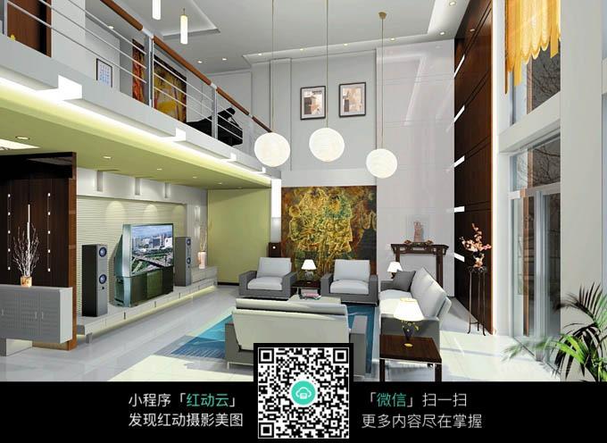 豪华客厅俯拍全景图_室内设计图片