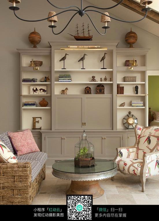 客厅白色实木柜子设计素材图片
