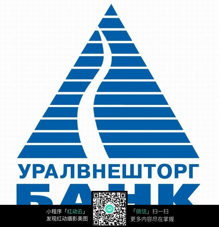 蓝色条纹三角形图案logo设计