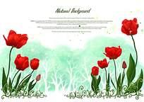 红色花朵背景素材