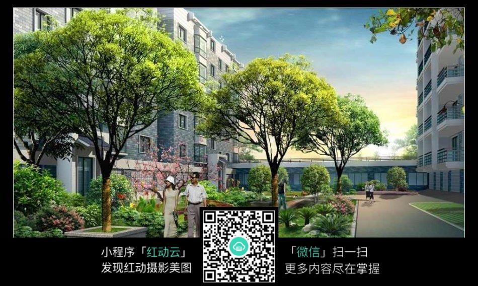 小区园林景观设计效果图图片免费下载 编号5486493 红动网