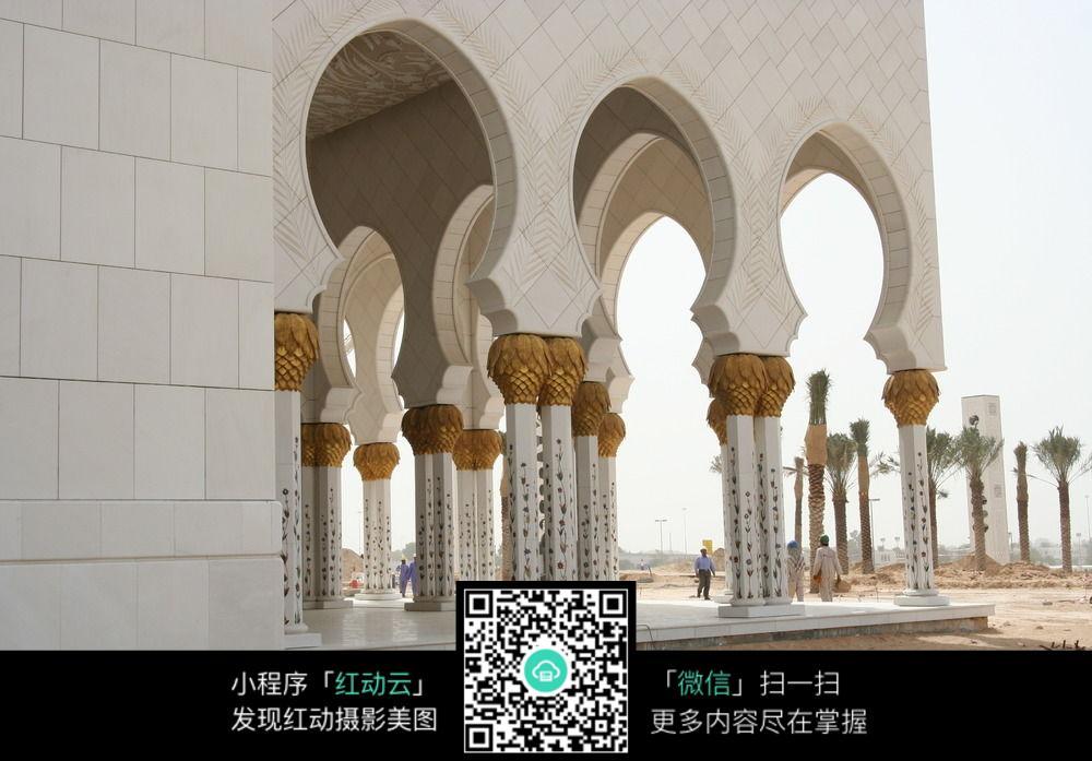 阿拉伯拱形长廊近景图片