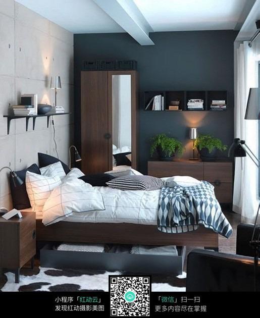 黑白商务色调卧室设计