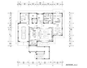 别墅底层室内装修平面布置图