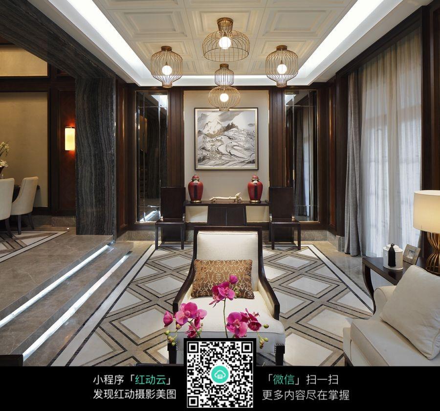 花纹地板高档别墅客厅
