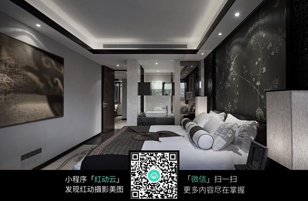 黑白个性创意卧室装修效果图