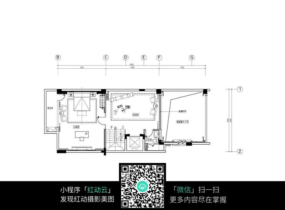 别墅二楼房间装修平面图图片