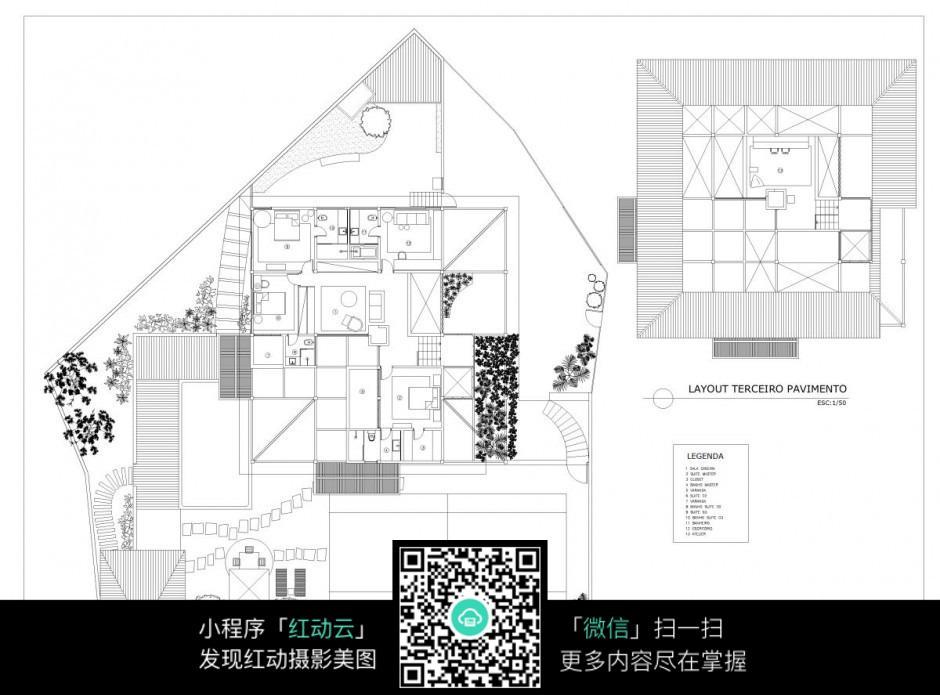 别墅园林建筑平面图