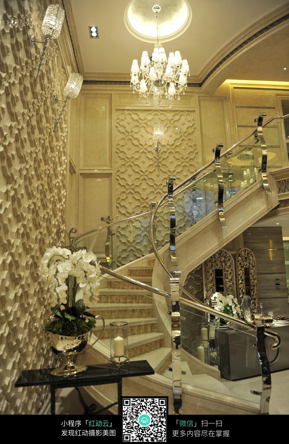 欧式豪华建筑隔断镂空旋转楼梯设计素材图片图片