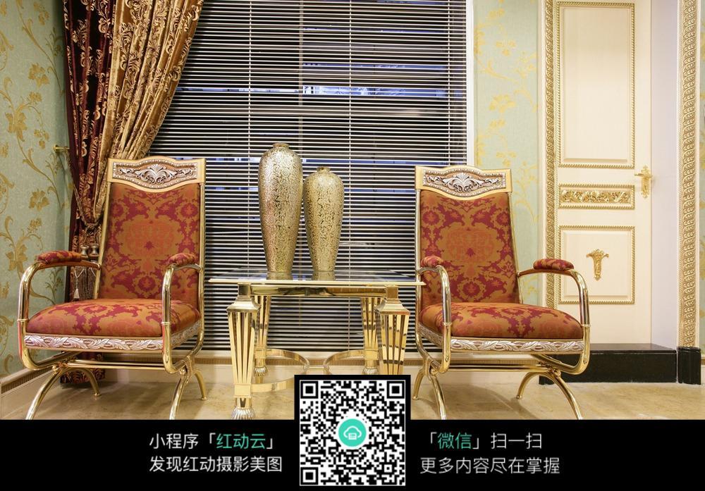 奢华华美复古座椅室内装修效果图