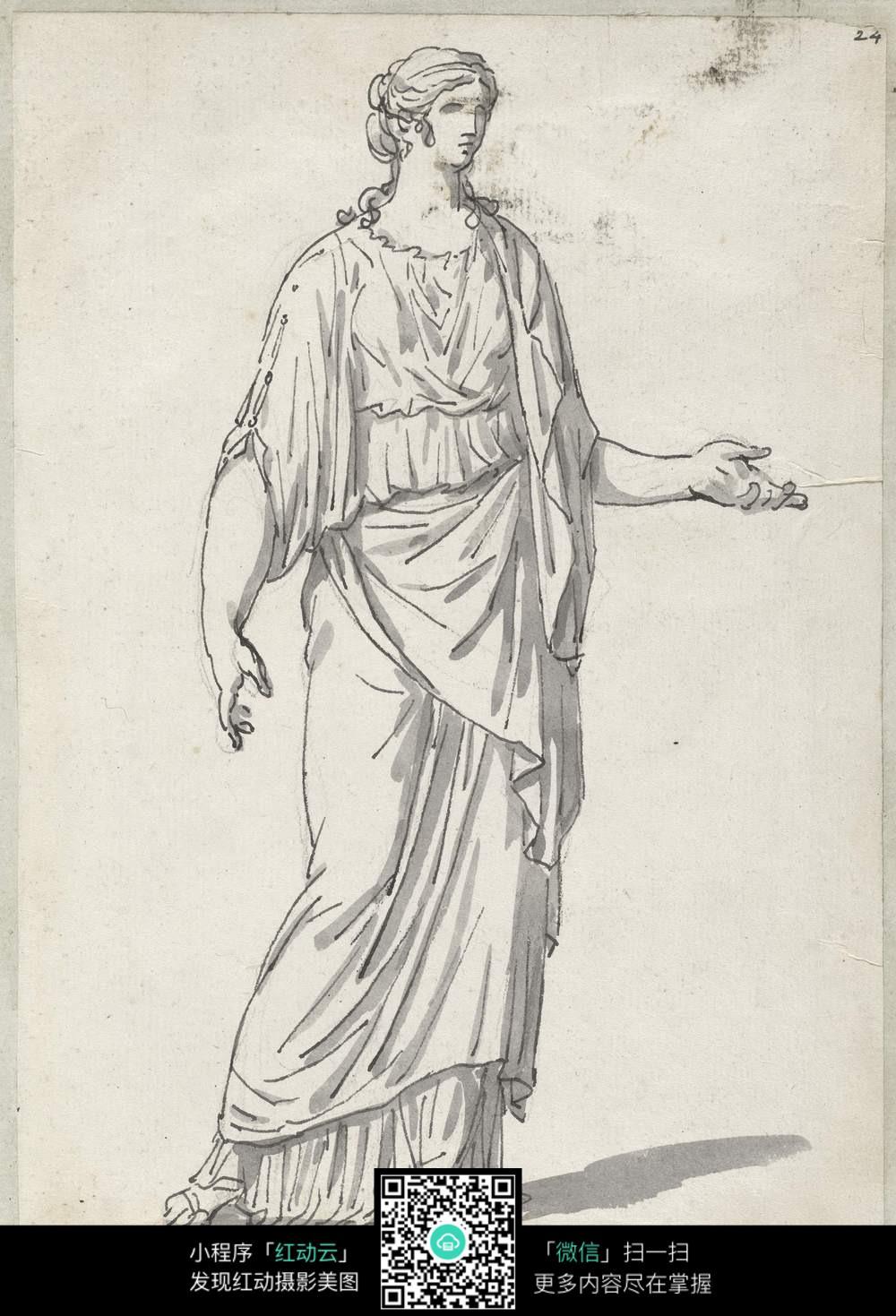 裙子铅笔画