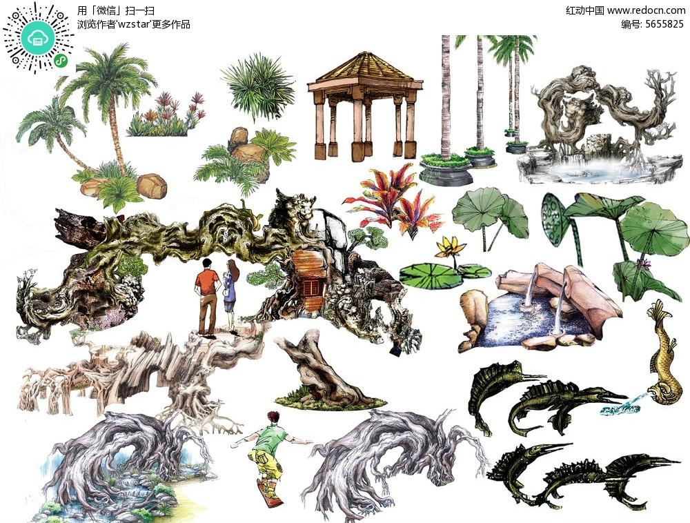 动植物人物手绘psd素材