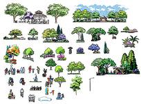 公园里的植物树木建筑图片