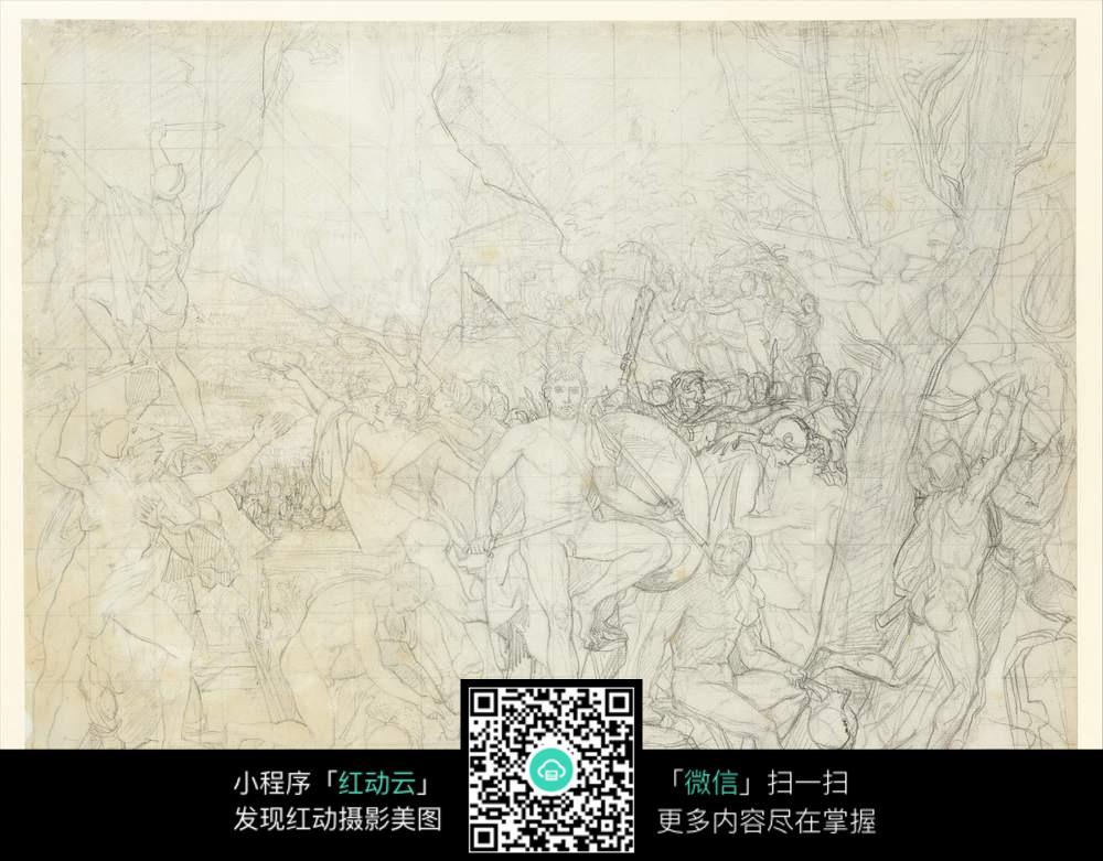 古罗马士兵抽象写生素描