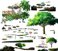 景观立面节点效果图psd素材