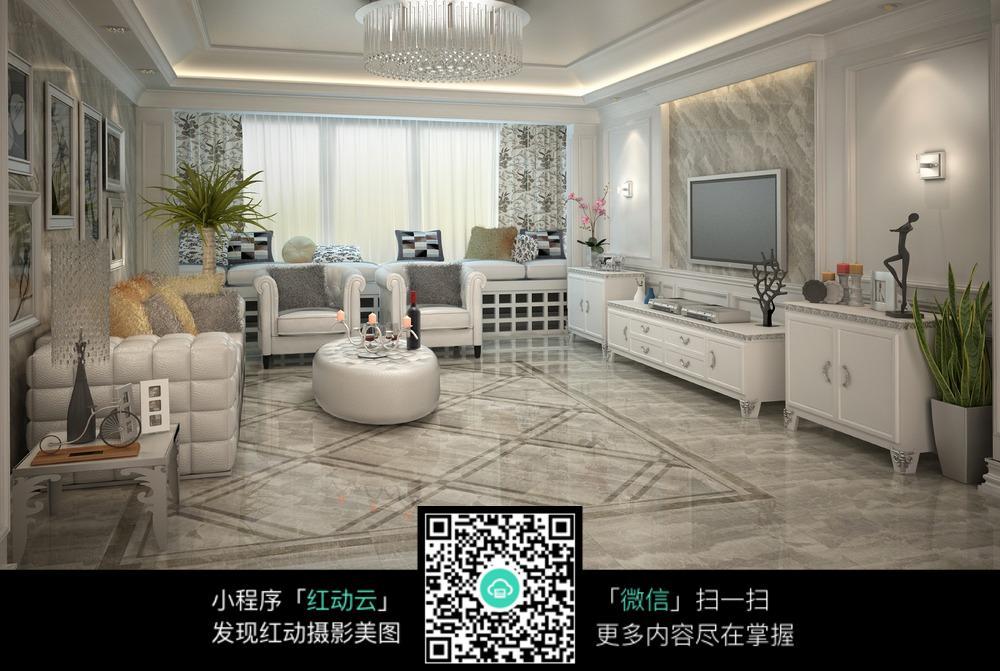 欧式白色客厅装潢设计