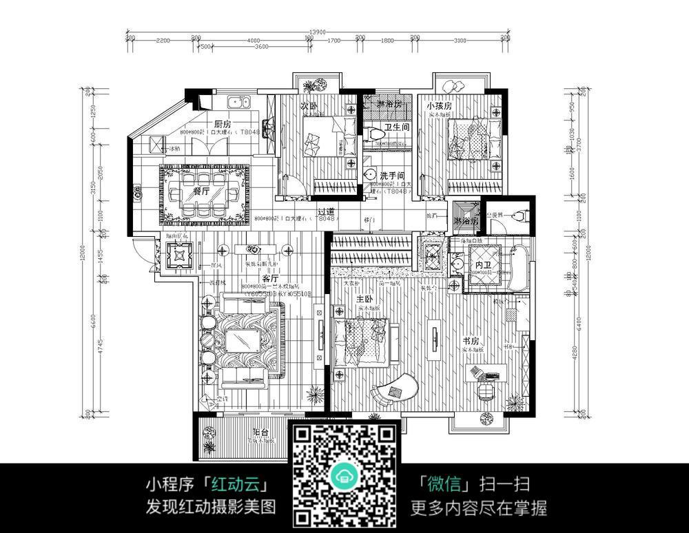 室内装修CAD平面图纸图片免费下载 红动网
